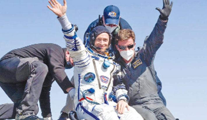 3 astronauts return from ISS