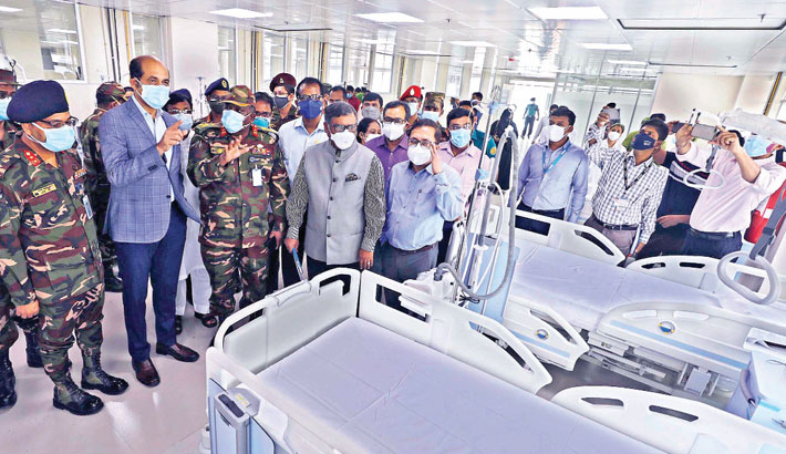 Health Minister Zahid Maleque inspects the country's largest Covid-19 dedicated hospital set up