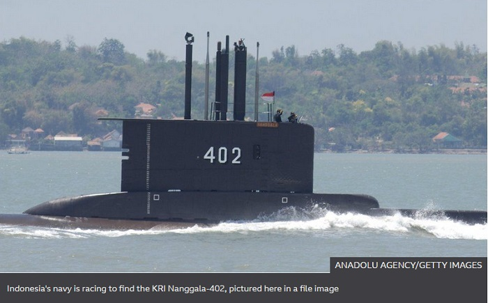Indonesia submarine search feared to have failed as oxygen runs out