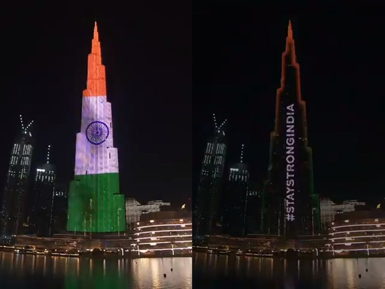 Burj Khalifa lights up to show UAE's support for India during COVID-19 crisis