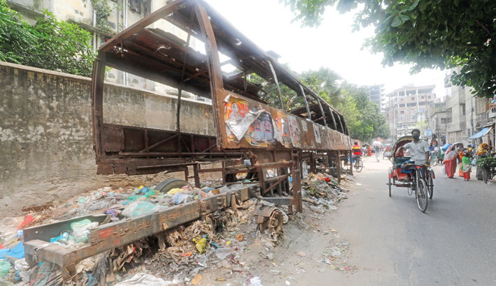A bus which got damaged in an accident has long been lying in a road in Maniknagar area of the capital in such