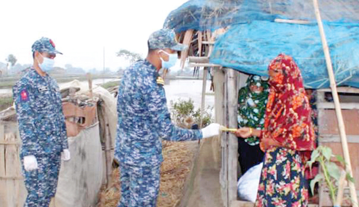 Bangladesh Navy hands over food aid and cash