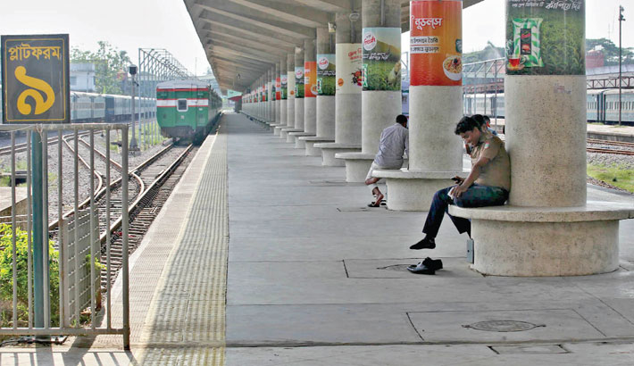 A deserted look as train services have been suspended due