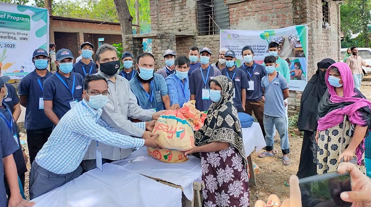 PLDS distributes food items among poor families in Keraniganj