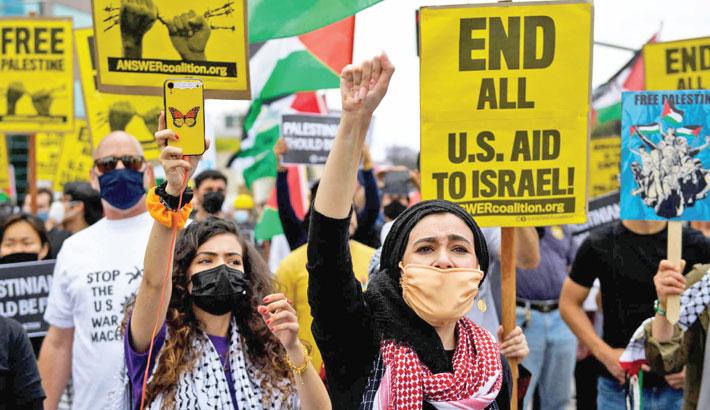 Thousands protest against Israeli strikes on Gaza