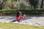 Mum's optical illusion of daughter sinking into concrete is 'melting people's brains'