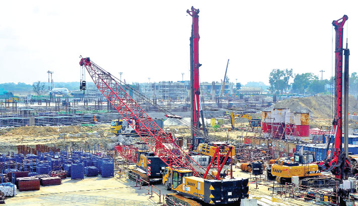 Construction work of the third terminal of Hazrat Shahjalal International Airport