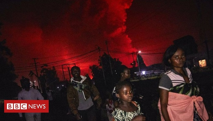 Thousands flee Goma city in DR Congo after volcano erupts