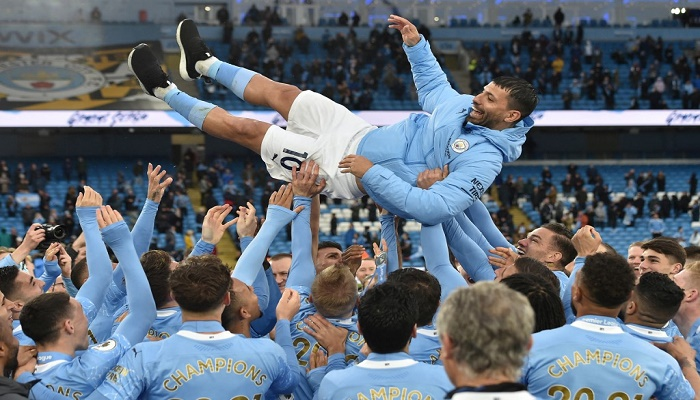 Aguero ends Man City career in style before title party