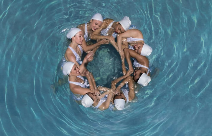 Stunning aerial photos capture synchronized swimmers from above
