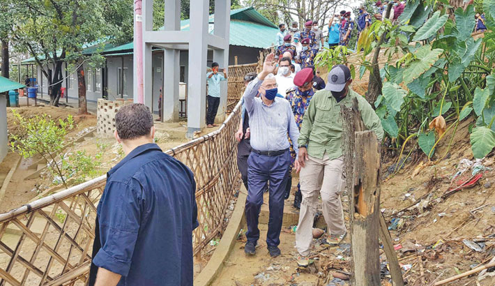 The United Nations General Assembly (UNGA) Volkan Bozkir visits a Rohingya camp