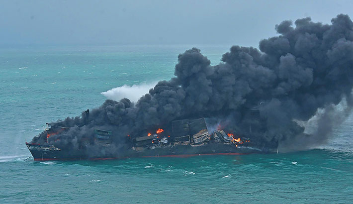Sri Lanka battles fire on ship loaded with chemicals