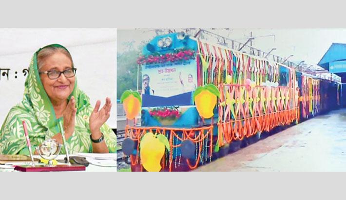 PM launches special mango train on C'nawabganj-Dhaka route