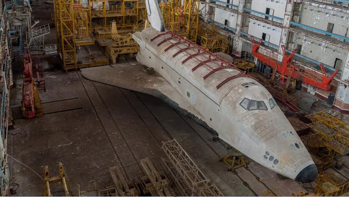Soviet space shuttle covered in graffiti