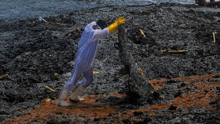 Sri Lanka facing marine disaster from burning ship: official