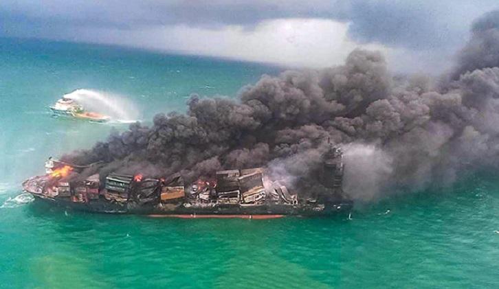 Sri Lanka questions burning ship crew after marine disaster