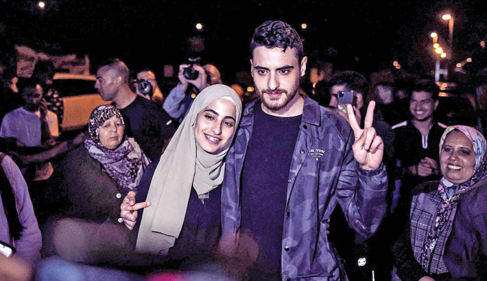 A photo together after being released by Israeli authorities