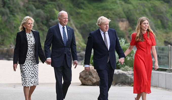 Joe Biden meets Boris Johnson for first time - and cracks joke about their wives