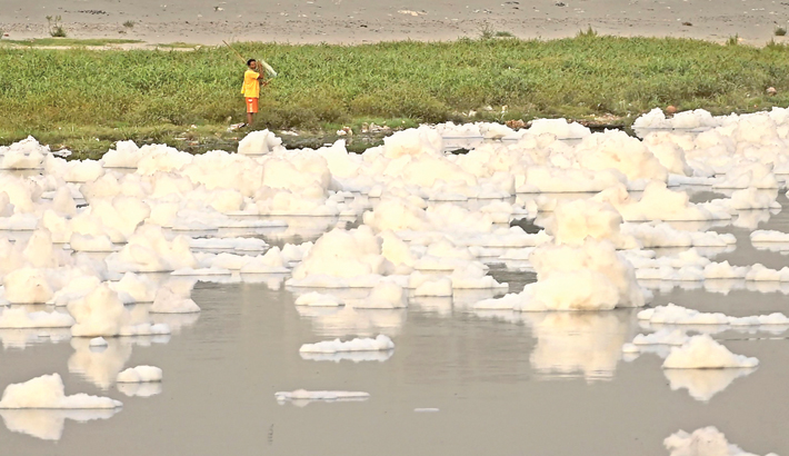 Polluted water surface of the Jamuna River