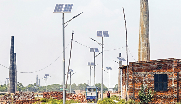 Solar-powered street lights have been installed at South Keraniganj