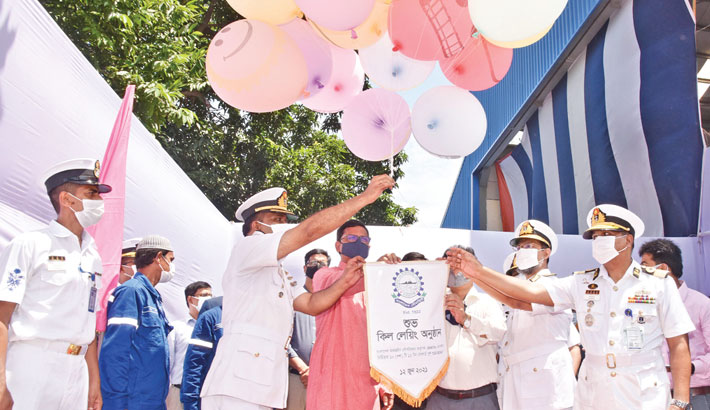 Keel-laying ceremony for bollard pull tugboats held