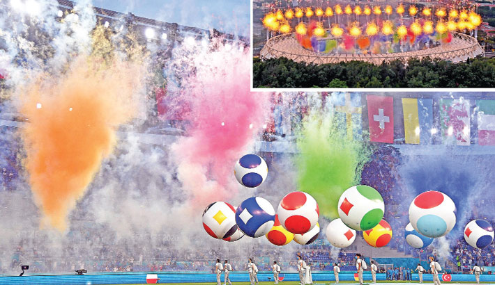 Entertainers perform during the opening ceremony before the UEFA EURO 2020