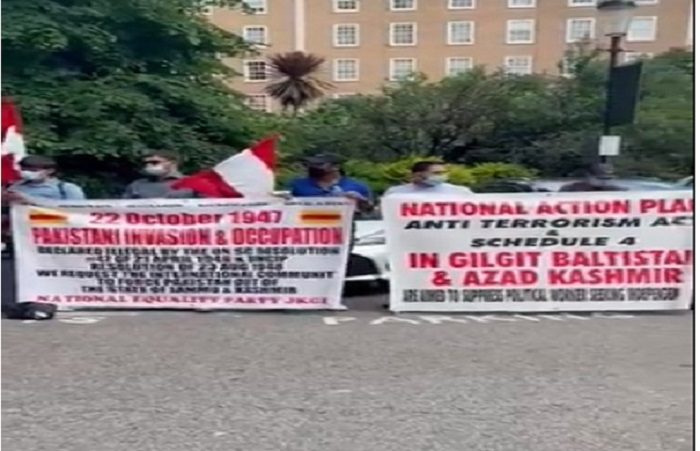National Equality Party protests outside Pak high commission in London against arrest of political workers, activists