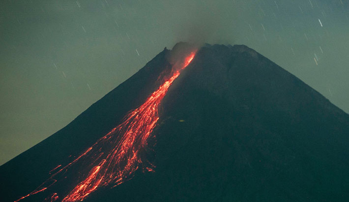 Lava flows from Mount Merapi, Indonesia's most active volcano