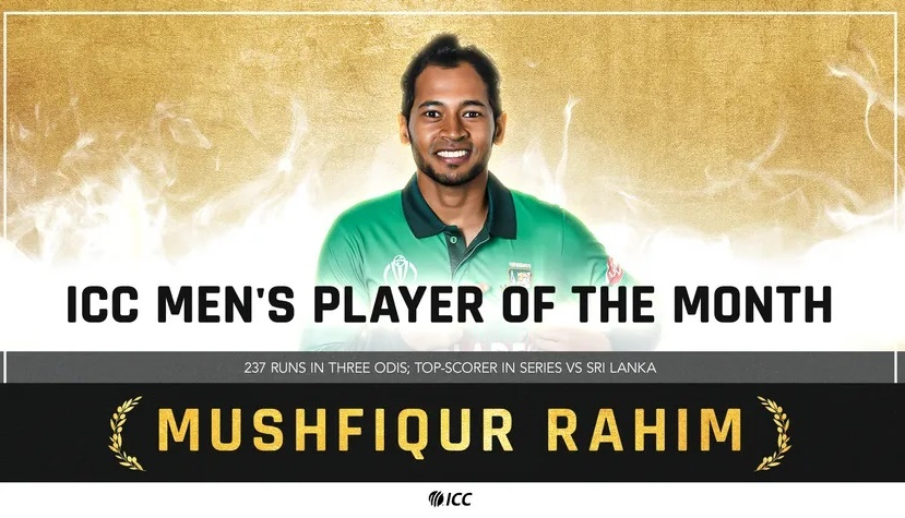 Mushfiqur Rahim voted ICC Players of the Month for May 2021