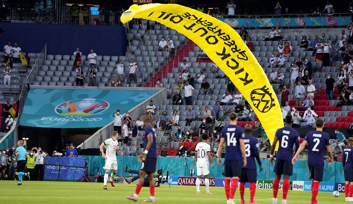 Several injured after Euro 2020 parachute protest