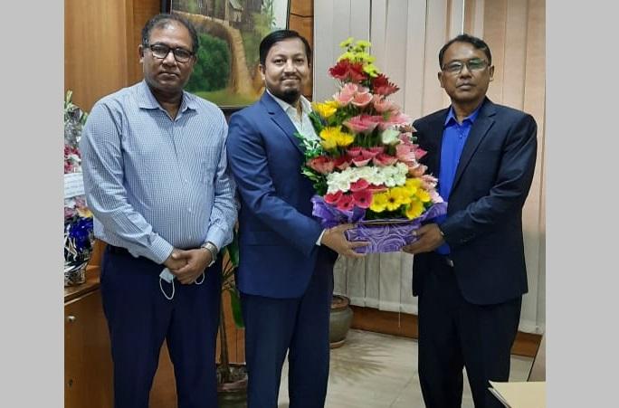 Bashundhara Group Vice Chairman Safwan Sobhan Tasvir wishes Rupali Bank's new Chairman Kazi Sanaul Haque