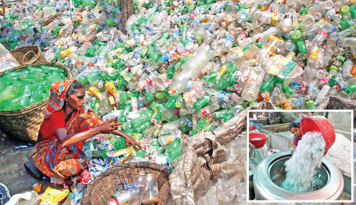Several factories have been set up in Kamrangirchar area of the capital to recycle plastic waste. These factories have employed over 100 people and are contributing to protecting the environment. Used plastic materials collected from different parts of the country are recycled at those factories. (Inset) plastic bottles are being cleaned for recycle. The photos were taken on Thursday.              —Reaz Ahmed Sumon
