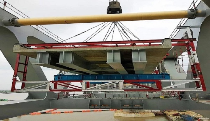 Installation of Padma bridge rail slabs completed