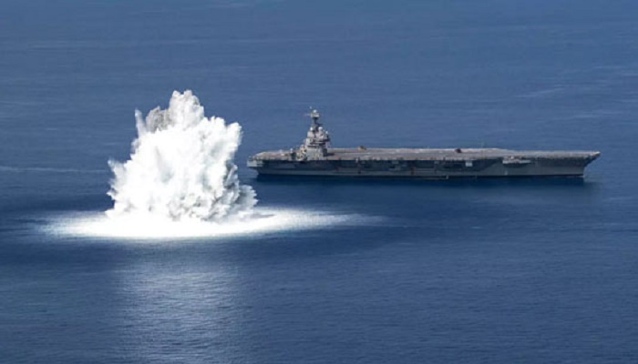 US Navy tests warship's metal with megablast