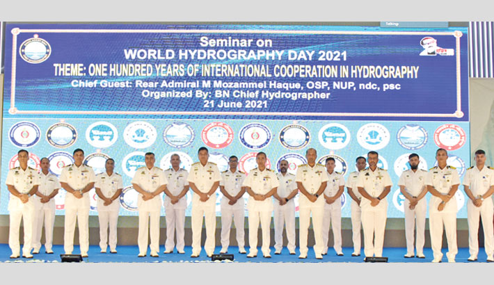Chattogram area Commander Rear Admiral M Mozammel Haque along with others poses for a photo at a seminar on hydrography in the port city on Monday marking World Hydrography Day 2021. —ISPR PHOTO