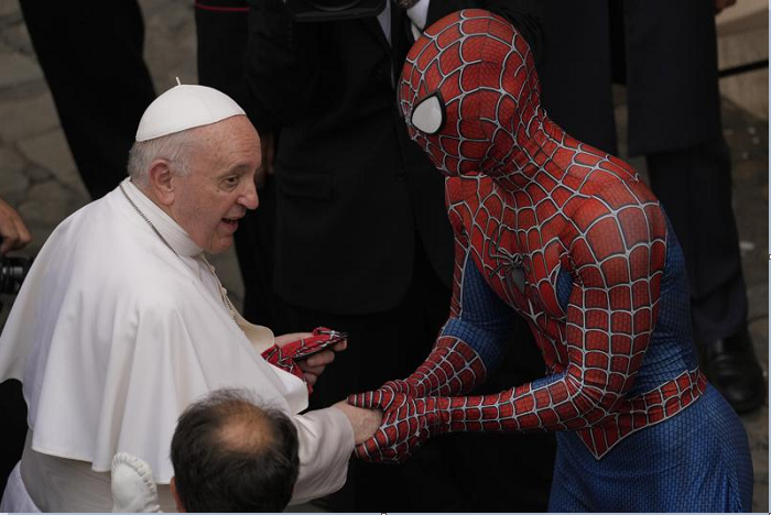 'Super-hero' in Spider-Man outfit meets pope at Vatican