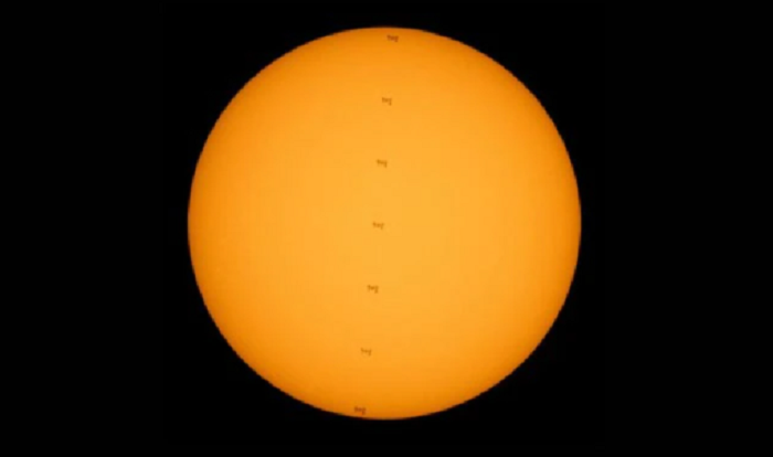 NASA shares image of international space station as it transited Sun