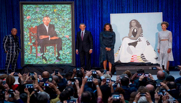 The Obama portraits are on display at the site of their first date