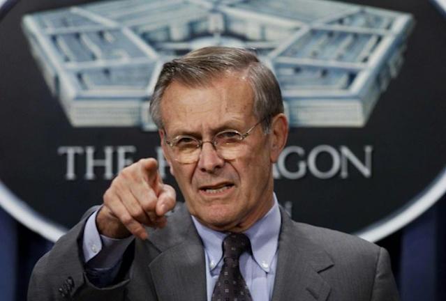 Rumsfeld, cocksure architect of Iraq war, dead at 88