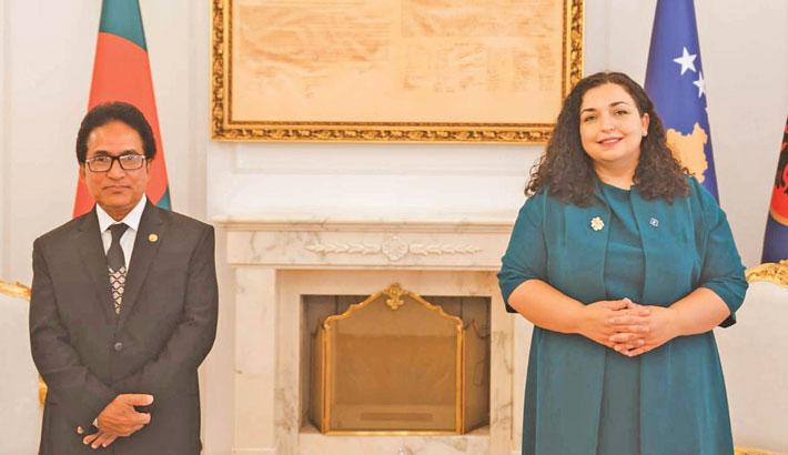 Bangladesh Ambassador to Kosovo Md Mosharraf  Hossain Bhuiyan poses for a photo with President of  Republic of Kosovo Dr Vjosa Osmani-Sadriu after presenting his credentials in Prishtina on Wednesday.