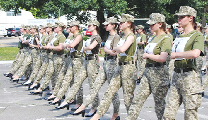 Women troops marching in heels spark outrage