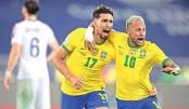 Ten-man Brazil down Chile to reach semis