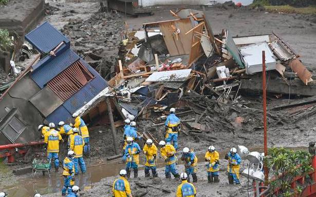2 dead, 20 missing after mudslide rips through Japan town