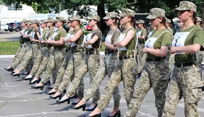 Ukrainian army defends decision to make female soldiers march in high heels