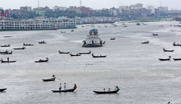 The Buriganga River, the lifeline to the capital, wears a good look with the arrival of rainy season. The photo was taken from Sadarghat area in the capital on Monday. – Reaz Ahmed Sumon