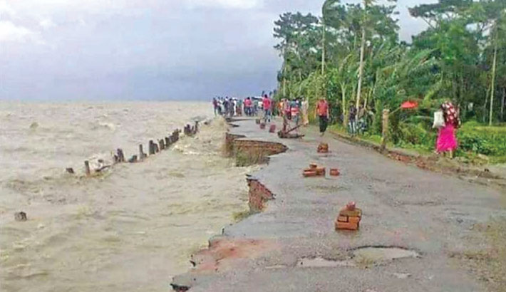 Erosion by the Meghna River has taken a serious turn in Ramgati Upazila of Lakshmipur district, devouring roads, croplands, houses and educational institutions. The photo was taken from Char Alexandar union on Monday.—Star Mail