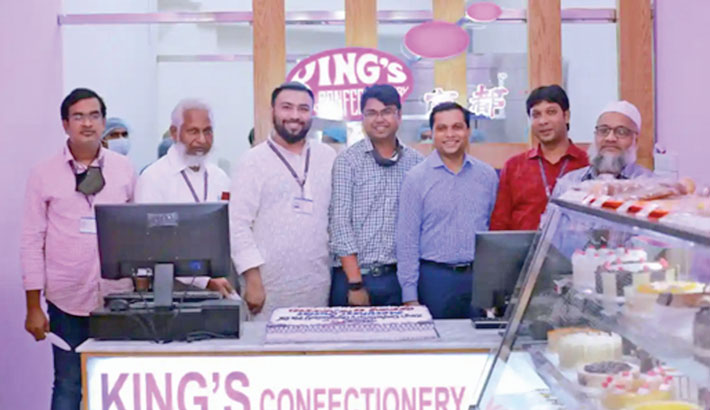 King's Confectionery Bangladesh Managing Director Md Shamim Miah inaugurates a new outlet of the company at Adamjee Court at Motijheel in the capital recently.