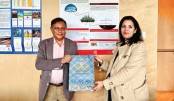 Information and Broadcasting Minister Dr Hasan Mahmud calls on Climate, Environment, Sustainable Development and Green Deal Minister of the Kingdom of Belgium Zakia Khattabi at the Centre for Environmental Science of Hasselt University in Maasmechelen on Thursday. SUN PHOTO