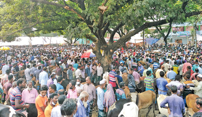 Sellers and buyers crowd a cattle market to buy sacrificial animals ahead of Eid-ul-Azha amid the corona situation ignoring health guidelines. The photo was taken from Adamdighi cattle market in Bogura district on Saturday. — PBA Photo