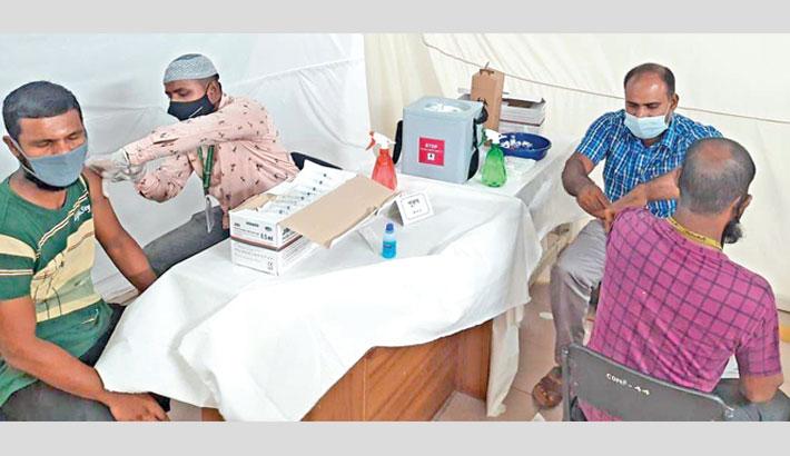 RMG workers get Covid-19 vaccine in Gazipur